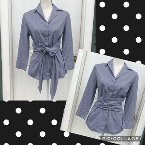 Lafayette 148 Gingham 3/4 Sleeve Button Down Shirt